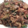 Spanish Steak (Diced New York 8oz w/ Mushrooms, Onions, Green Peppers and Tomatoes) served w/ Rice